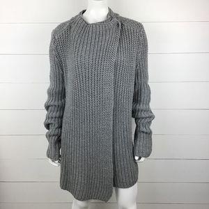 Lou & Grey L Long Cardigan Sweater Cross Over Gray